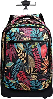 Cooralledtooere Beautiful Floral Printing Wheeled Backpack - Padded Adjustable Back Straps and Carry Handle,Trolley Backpack (Color : Black, Size : 49 * 35 * 24CM)