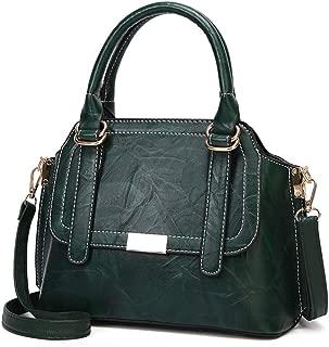 Portable Women's Retro PU Shoulder Bag Solid Color Soft Leather Fashion Handbag Hand Bag Messenger Bag Motorcycle Bag Crossbody Bag (Color : Green)