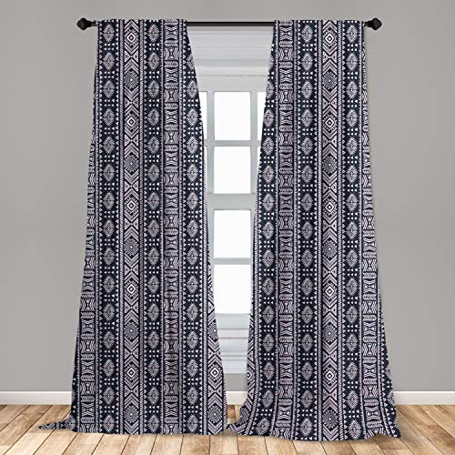 Ambesonne African Curtains 2 Panel Set, Inspirations Meet with Country Art Design Vertical Borders, Lightweight Window Treatment Living Room Bedroom Decor, 56' x 63', Cadet Blue White