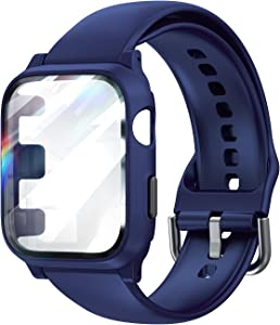 LϟK Compatible with Apple Watch 38mm Series 3/2/1 Band Strap with Case Built-in Tempered Glass Screen Protector for iWatch, Sports Protective Cases Drop-Proof Shockproof - Blue