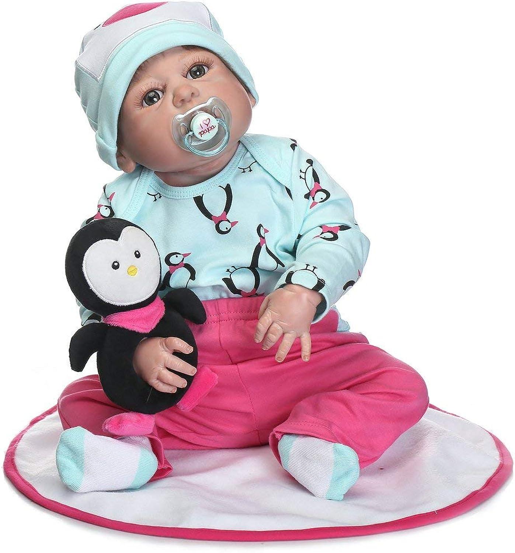 la mejor oferta de tienda online Laurelmartina 22 Pulgadas Niños renacer Baby Doll de Cuerpo Cuerpo Cuerpo Completo de Silicona Realista muñeca recién Nacida con pingüino Touch Suave Mejor Regalo de cumpleaños  varios tamaños