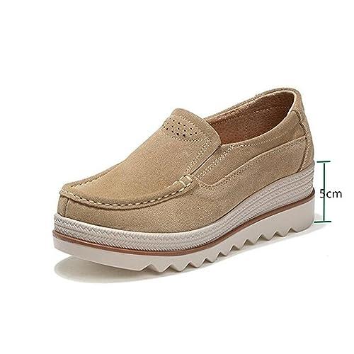 Mocassini Donna in Pelle Scamosciata Moda Comode Loafers Scarpe da Guida  Ginnastica con Zeppa 5 cm 1334f0a6f07