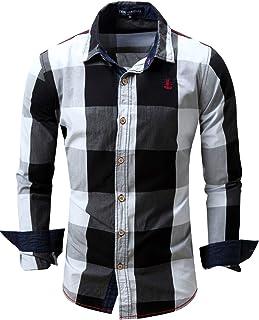CLOTPUS Men's Cotton Long Sleeve Casual Collared Button Down Plaid Shirts Regular Fit