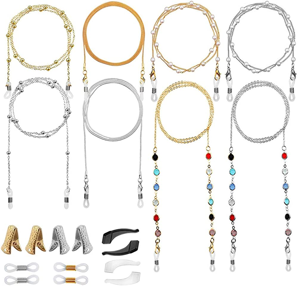 8Pcs Elegant Eyeglass Chains for Women, Casulo Eyewear Retainer Beaded Metal Sunglasses Strap Holder, Reading Glasses Necklace Lanyard Eyewear Accessories(4 Styles)