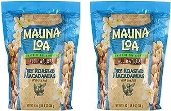 Mauna Loa Dry Roasted Macadamia Nuts with Sea Salt All Natural, 25 oz (2 Bags)