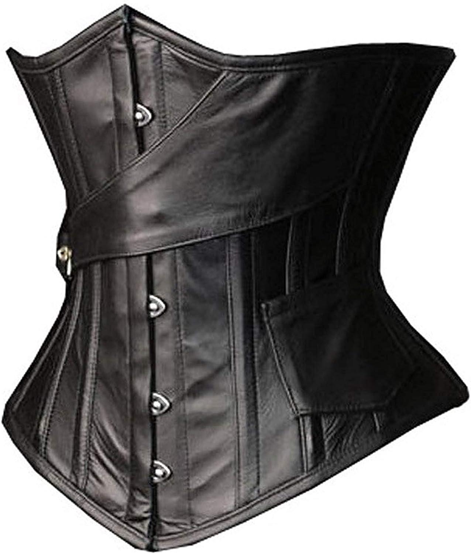 "100/% Leather Steampunk Corset Underbust Steel Boned Sizes 18-40/"""