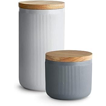 : Keramik Vorratsdosen 2 tlg. Set mit Holzdeckel