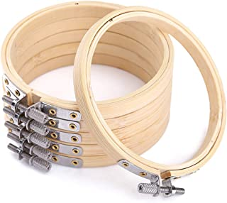 Caydo6 Pieces 3 Inch Embroidery Hoop Bamboo Circle Cross Stitch Hoop Ring for Art Craft Handy Sewing
