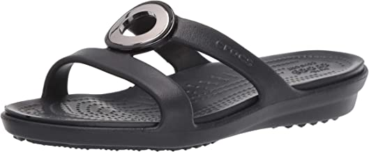 Crocs Women's Sanrah Metal Block Slide Sandal