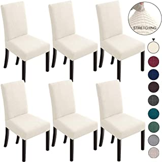 NORTHERN BROTHERS Dining Chair Covers Stretch Chair Covers Parsons Chair Slipcover Chair Covers for Dining Room (Cream, 6)