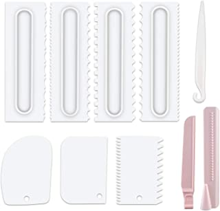Cake Scraper Set of 9 Packs,Cake Decorating Comb and Icing Smoother, Plastic Sawtooth Cake Scraper Polishe, Decorating Cak...