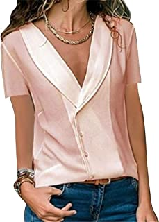 FRPE Women's Summer Casual Short Sleeve Fashion Solid Color Button Down Blouse Shirt Tops