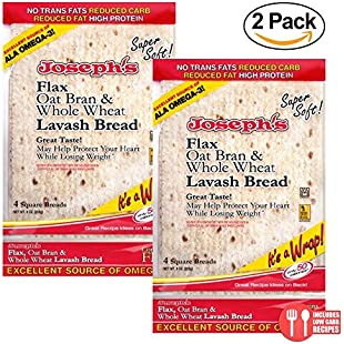 Joseph's 2 Pack Value Lavash Bread Flax Oat Bran & Whole Wheat Reduced Carb, 8 Squares