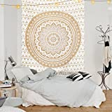 Famacart Gold Mandala Tapestry Single Cotton Printed Wall Hanging Dorm Decor Bedspread Bedsheet Throw Room Divider Furniture Cover Table Cloth
