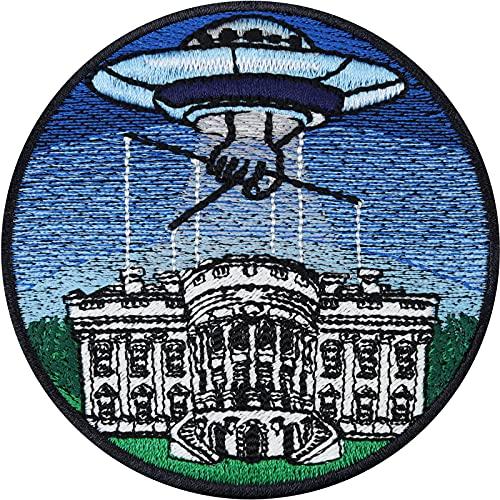 Parche termoadhesivo UFO sobre la casa blanca de los Estados Unidos Alien Control Conspiracy de las naves espaciales extraterrestres, termoadhesivo para planchar teorías conspirativas