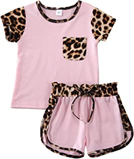 2Pcs Toddler Kids Girl Clothes Leopard Short/Long Sleeve Tops Heart T-Shirt Leggings Pants Tracksuit Sweatsuit Outfits Set