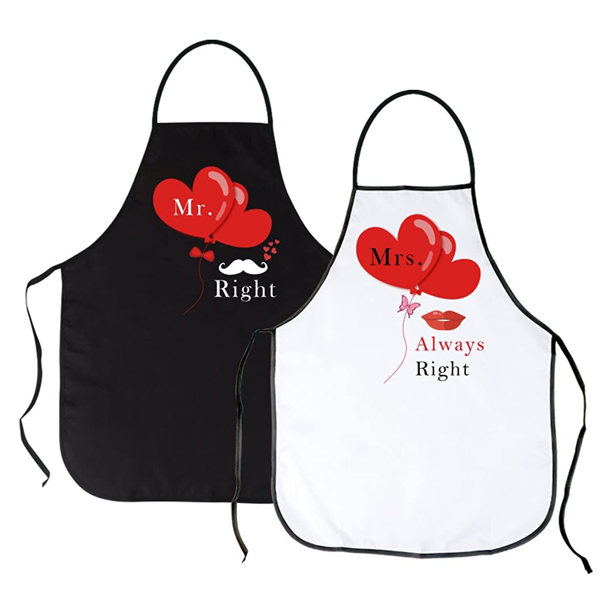 OurWarm 2 Pack Mr. Right & Mrs. Always Right Kitchen Aprons for Wedding Engagement Gift, Couples Aprons for Cooking