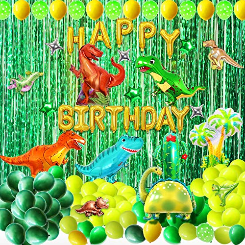 Dinosaur Party Supplies Birthday Decorations - 131 Pcs Dinosaur Birthday Party Decoration Set with Dinosaurs Balloons, Happy Birthday Balloon Banner, Foil Fringe Curtains, Jungle Latex Balloons Dinosaur Themed Party Favors for Kids Girls Boys Baby Shower