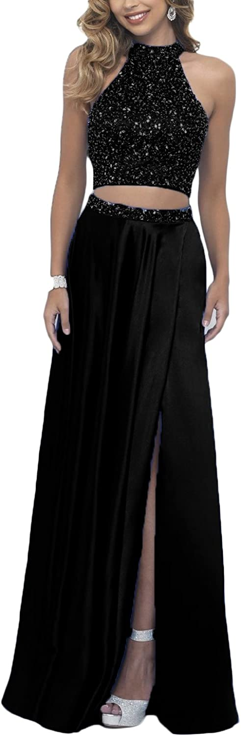 YSMei Women's 2 Pieces Beaded Prom Homecoming Dress Long Split Party Gown YSM176