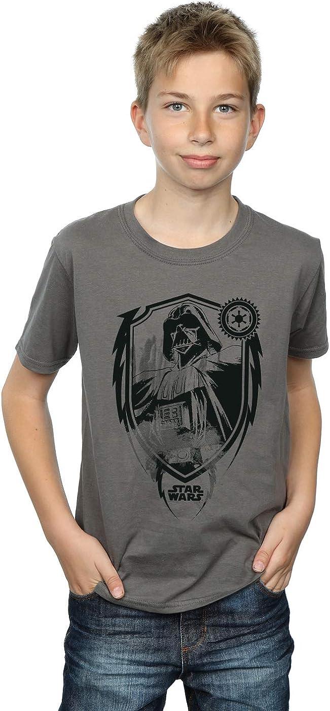 STAR WARS Boys Darth Vader Shield T-Shirt 7-8 Years Charcoal