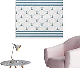 Anchor Art Decor Decals Stickers Blue Stripes Frame with Abstract Stripes and Chain Figures Symmetrical Pattern The Office Poster Slate Blue White W36 xL24