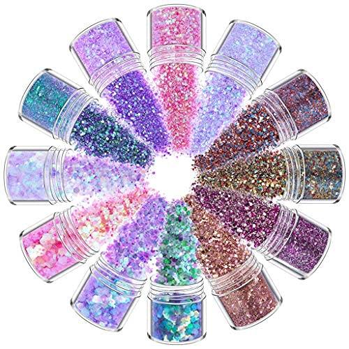 Kit de lentejuelas de 12 colores, mezclado holográfico maquillaje grueso brillo cara cuerpo ojo pelo uñas resina epoxi festival grueso