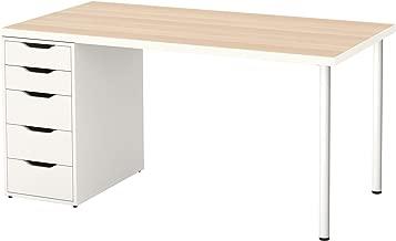 IKEA Linnmon / Alex Table, White White Stained Oak Effect, White