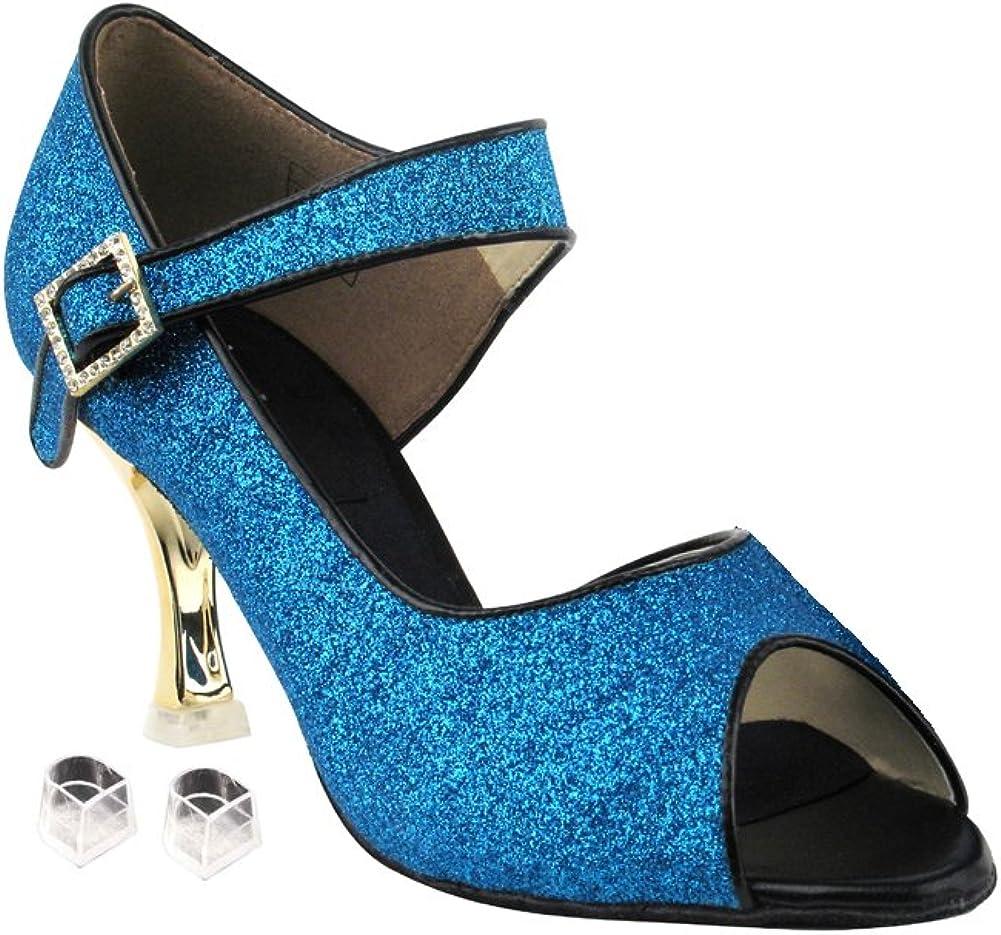 Very Fine Ladies Women Ballroom Dance Shoes EKCD3005 Blue Stardust 2.5
