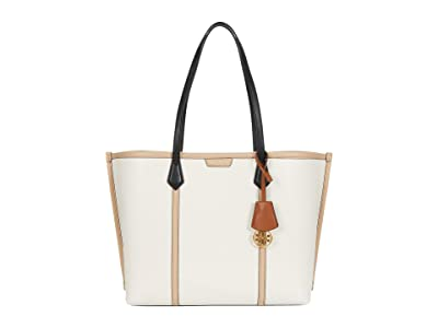 Tory Burch Perry Color-Block Triple-Compartment Tote (New Ivory) Handbags