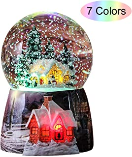Snow Globes for Kids Boys - Girls Snow Globe Christmas Village Santa Snow Globe Winter Glitter Art Crystal Ball Rotate 7 Colors Change Light Musical Box Castle in The Sky Birthday Xmas Gifts
