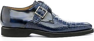 Men's Eye Croc Print Leather Monk Shoes 5480 PC 11