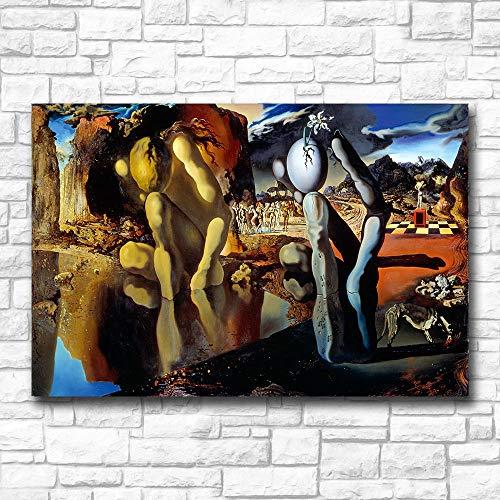 Chihie Arte de la Pared La metamorfosis de Narciso Dali Pintura al óleo de la Pared Impresión Bonita Imagen de la Pared para la Sala de Estar 50cm x75cm Sin Marco