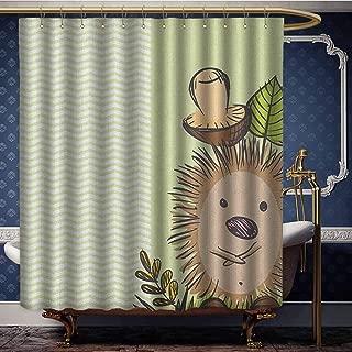 Jiahong Pan Mushroom,Popular Shower Curtain Cute Hedgehog Chevron Stripes Pattern Spiky Animal Wildlife Cartoon Design for Bathroom Decorations Green Brown Beige W72 xL96