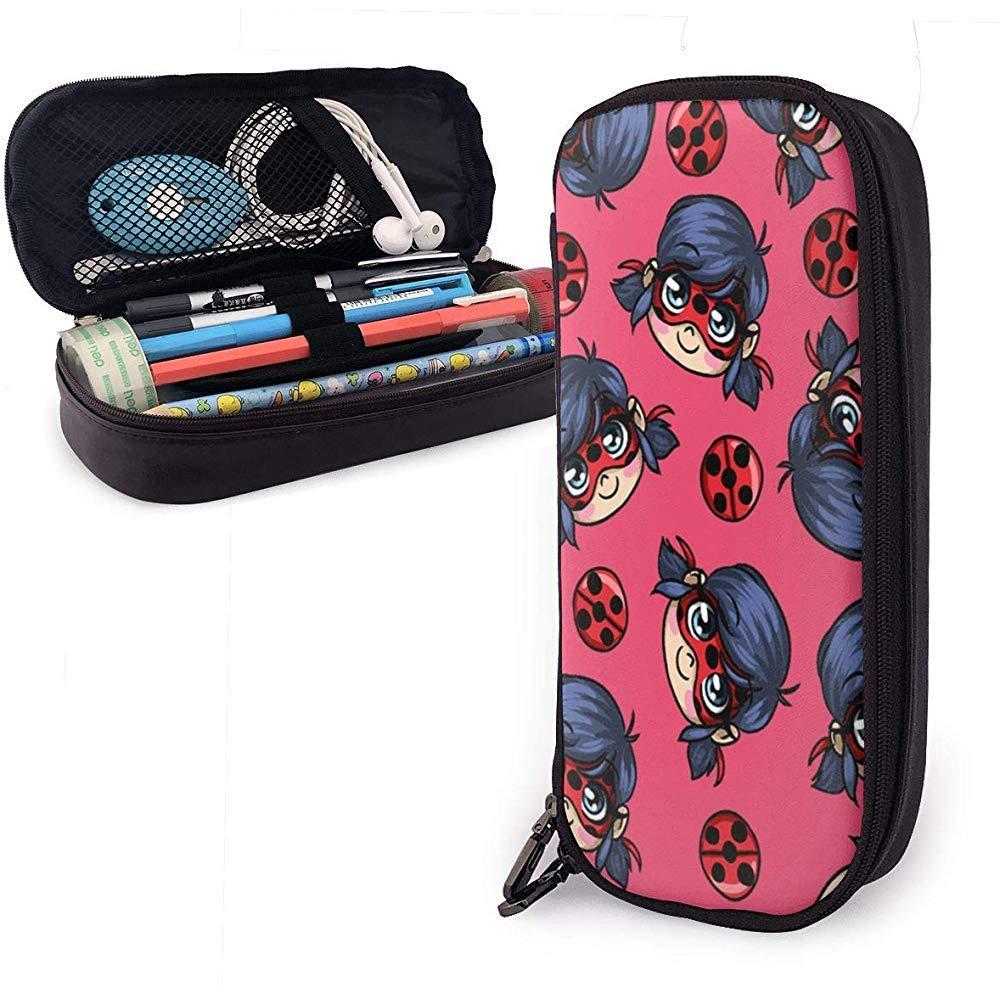 Ladybug Tikki, Spots On Leather Estuche de lápices Caja de papelería de gran capacidad Bolsa de maquillaje de viaje Bolsa: Amazon.es: Oficina y papelería