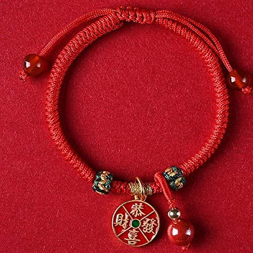 Plztou Feng Shui Riqueza Amuleto Pulsera Plata Lucky Cat Colgante Ruyi Lock Gong XI FA CAI Colgante Braidy Pulsera Ajustable Cinnabar Red Agate Beads Atraer Buena Suerte, Ruyi Lock