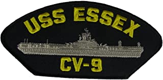 USS ESSEX CV-9 Patch - Gold and Silver on Black Background - Veteran Owned Business.