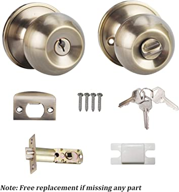 Keyed Entry Knob Lock for Exterior Door and Front Door Round Knob Door Handle Antique Brass Finish 6072-AB-ET-1P