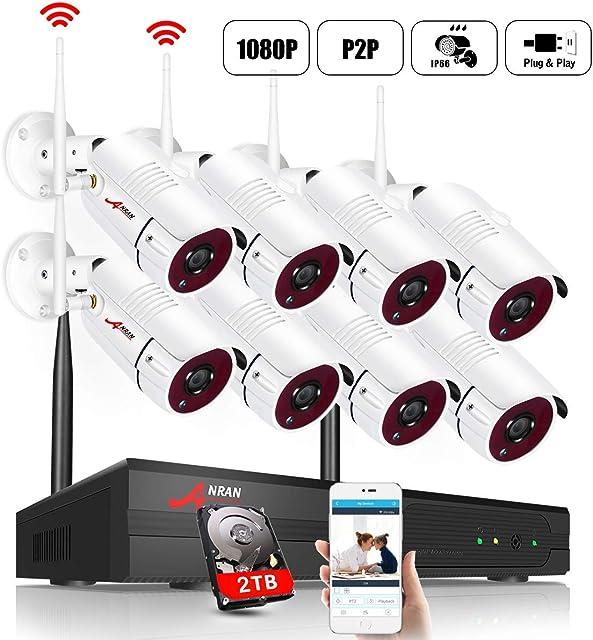 【el más Nuevo】 ANRAN 1080P Kit de Cámaras Seguridad WiFi Vigilancia Inalámbrica Sistema de Cámara CCTV Inalámbrica Kit NVR 8CH con 8 IP Cámaras Exterior de Visión Nocturna Acceso Remoto P2P 2TB HDD