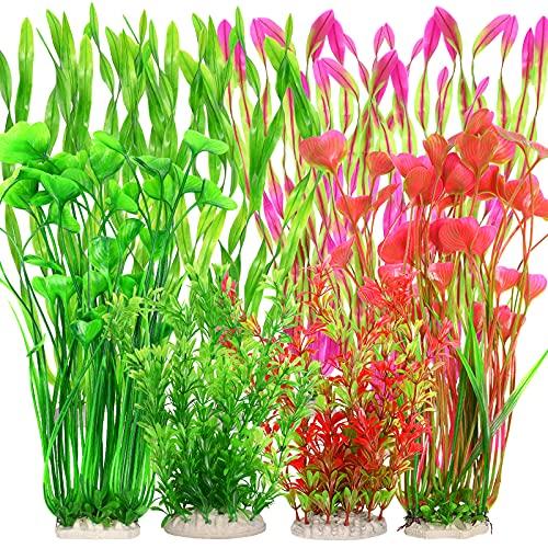 10 plantas artificiales de acuario, plantas de plástico para acuario, plantas acuáticas, decoración de plantas subacuáticas vivas, decoración realista y segura para todos los peces (planta grande)