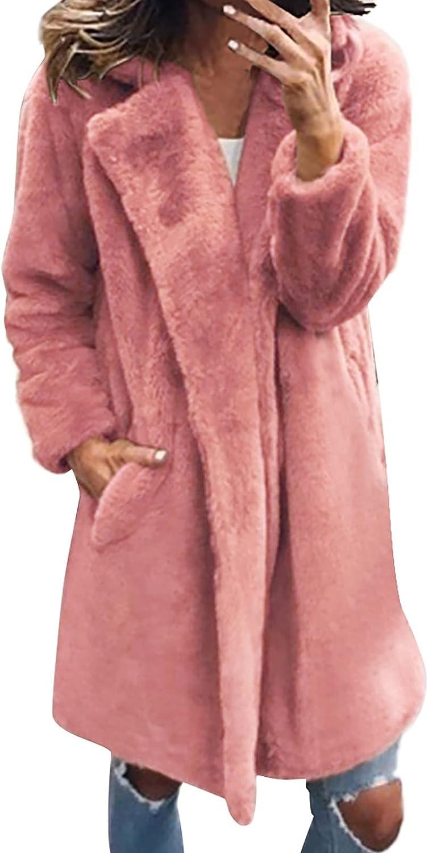 Women Faux Fur Jacket Warm Solid Notched Lapel Coat Casual Winter Fuzzy Fleece Open Front Long Cardigan with Pockets