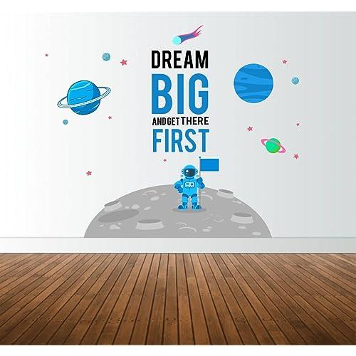 Rawpockets 'Dream Big on Galaxy ' Wall Sticker (PVC Vinyl, 90 cm x 95cm)