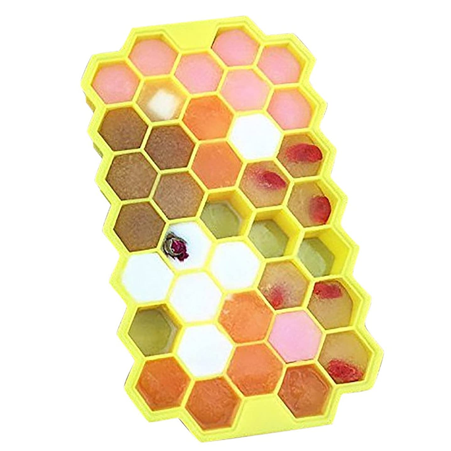 Vanvler Ice Cube Tray Honeycomb Shape 37 Cases { silicone Ice Mold } Storage Containers