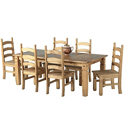 Mexican Corona 6ft Pine 70 Dining Table Set 6 Chairs Antique Waxed
