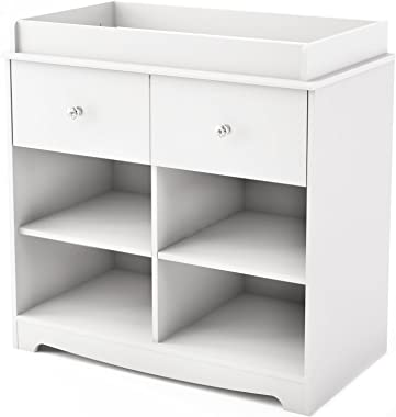 South Shore Little Small 1-Drawer Changing Table with Cube Storage, Pure White