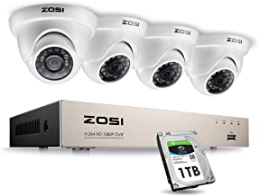 ZOSI 1080P Security Cameras System 8 Channel FULL TRUE 1080P HD-TVI DVR Recorder and 4pcs..