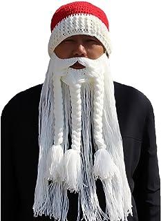 19b5f1d36a0 BIBITIME Knitted Santa Beanie Hat with Pompom Big Braid Beard Mask  Christmas Cap