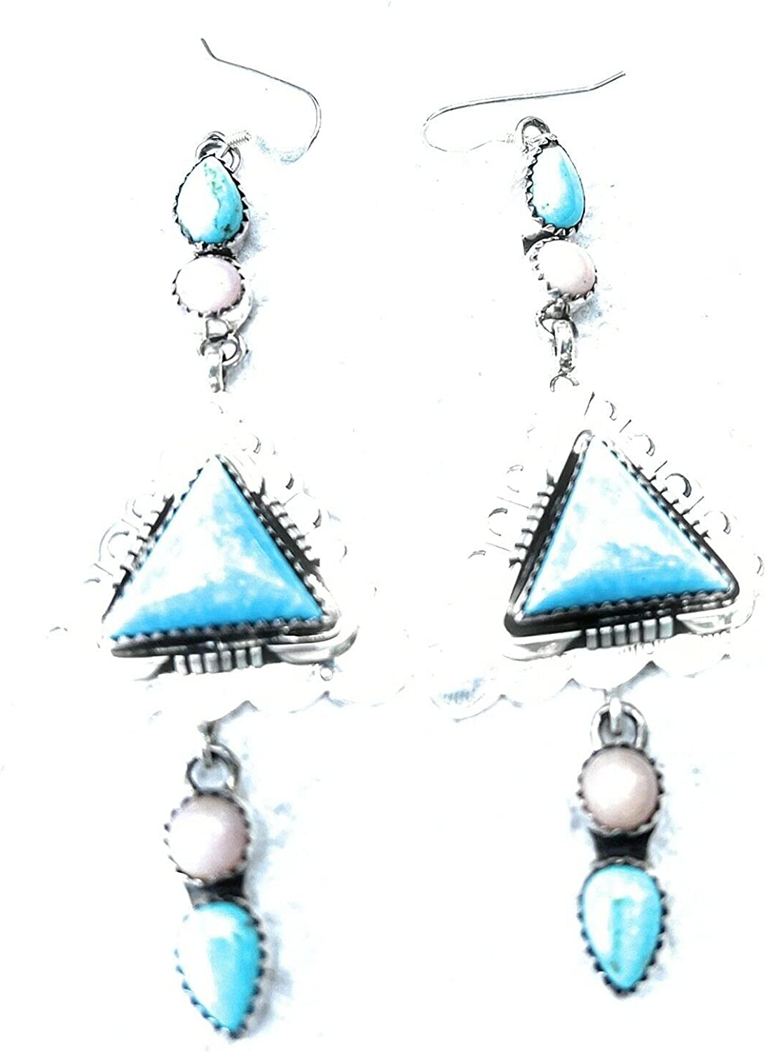 Navajo Sterling Southwest Triangle In a popularity Pink Max 59% OFF Da Jasper Turquoise Hook