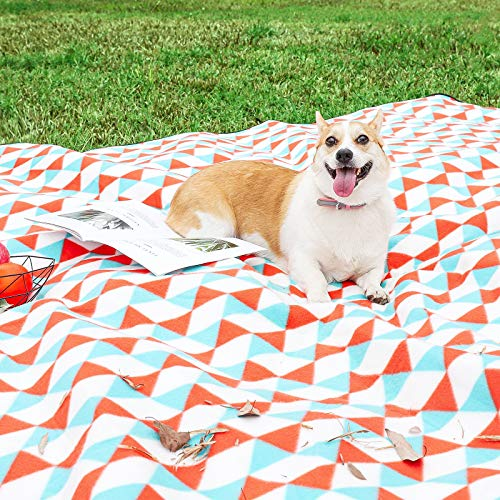 Yorbay Picknickdecke 200 x 200 cm XXL Fleece wasserdicht Decke mit Tragegriff Mehrweg (Orange blau)