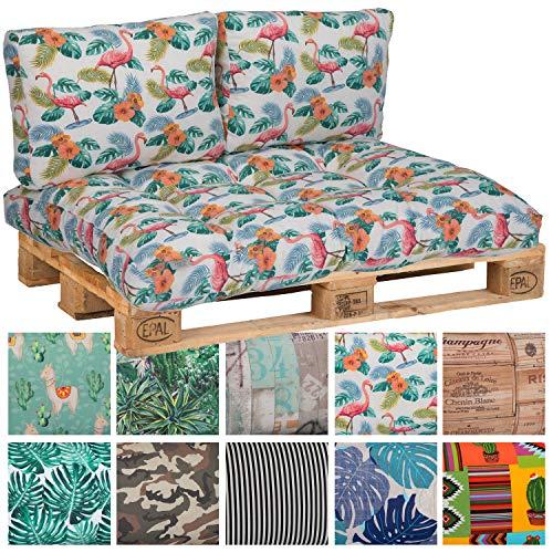 nxtbuy Cojín para Palés ''Summer Vibes'' - Cómodo Cojín para Europalets - Diferentes Diseños y Tamaños A Elegir, Variante:1x Cojín De Asiento 120x80x16cm, Diseño:Flamingo BE919
