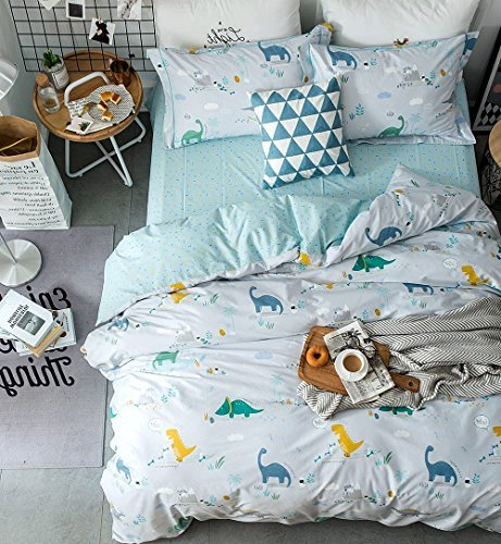 Eikei Home Dinosaurs Bedding Children Boys or Girls Fun Dinos Twin Full Toddler Colorful Duvet Cover and Sheet Set Bright Multicolored Green Blue Orange Yellow (Twin, Light Blue)